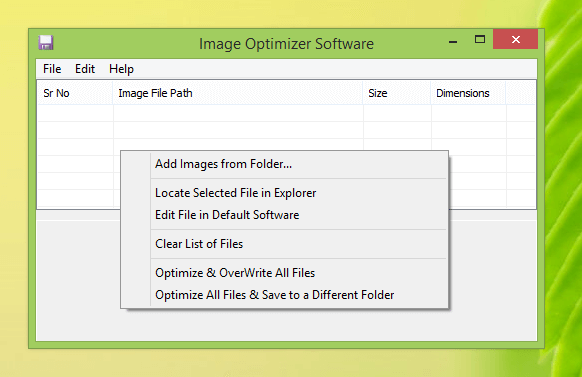 Main Screen of Image Optimizer