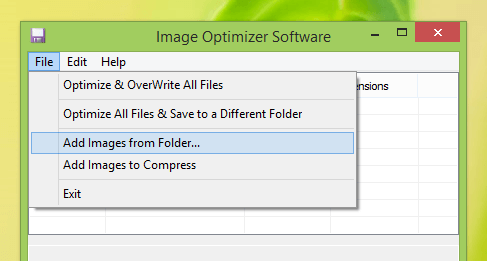 Screenshot Displaying Features Offered by File Menu of Image Optimizer