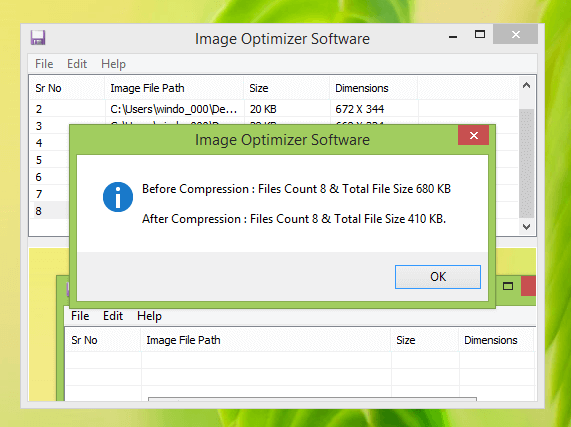 Screenshot of Image Optimizer Report