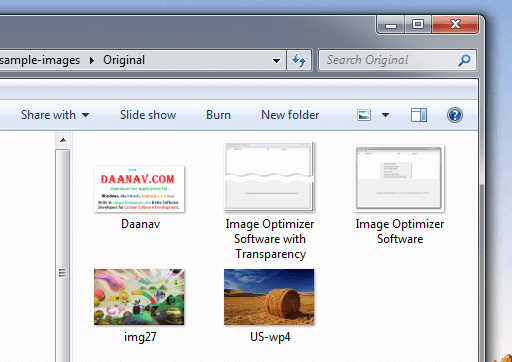 Screenshot of Sample Images Folder